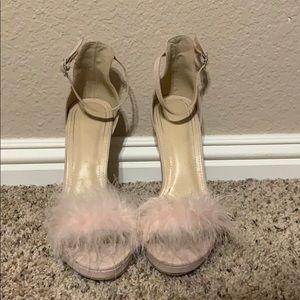 Fashion Nova pink fuzzy heels